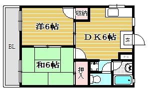 シティハイツ内浜205号室-間取り