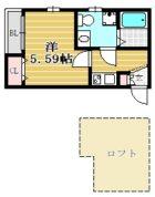 アパルトメント ウノ 吉塚 - 所在階 の間取り図