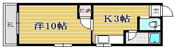 エクセレント筑紫野201号室-間取り