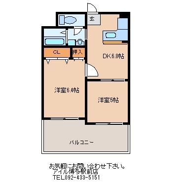 ニッセイ・ディーゼント小笹305号室-間取り