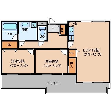 ロワールマンションロゼ吉塚407号室-間取り
