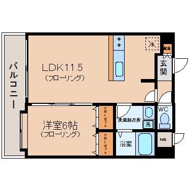 ルピエ博多II403号室-間取り