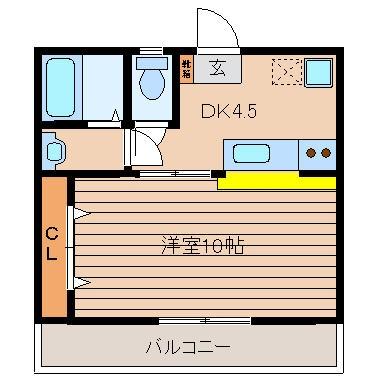 ジュネス駅東105号室-間取り