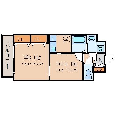 プレステージ東比恵1007号室-間取り