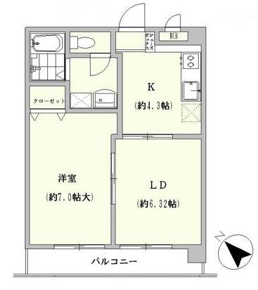 梅野コーポ305号室-間取り