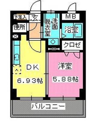 ローヤルマンション博多駅前608号室-間取り