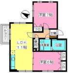 クレール今町 - 所在階1階の間取り図 2262