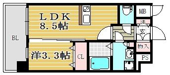 HGS山王南605号室-間取り