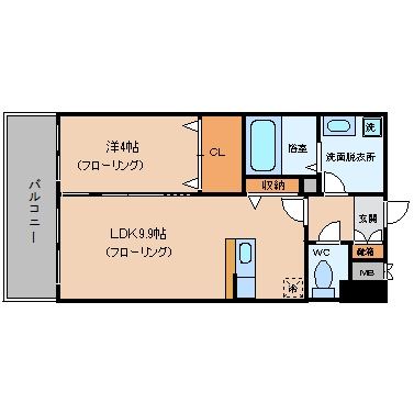 ASレジデンス博多駅南705号室-間取り