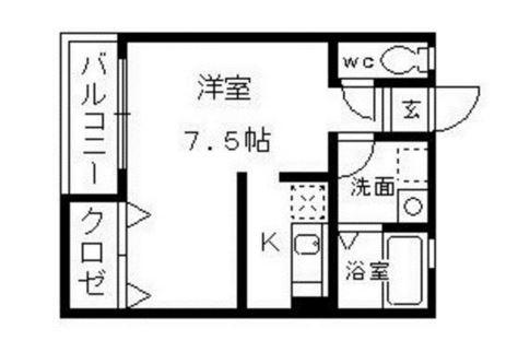 Aレガート東比恵駅前203号室-間取り