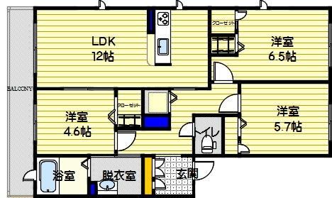 サングランデ桜坂A302号室-間取り