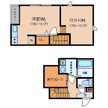 CB吉塚ルフレ203号室-間取り