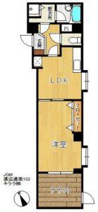 じゅうグランドモア渡辺通南 - 所在階1階の間取り図 3056