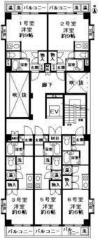 キャピタル大濠西 - 所在階 の間取り図