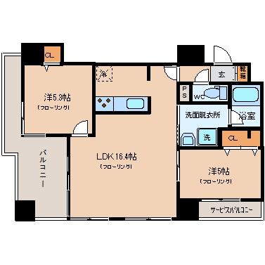 アクタス渡辺通パークシティ204号室-間取り