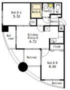 ニッセイ・ディーセント小笹 - 所在階6階の間取り図 3886