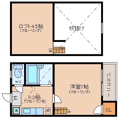 Lソワール美野島203号室-間取り
