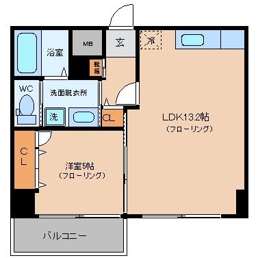 チサンマンション祇園407号室-間取り