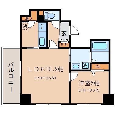 アクタス渡辺通パークシティ601号室-間取り