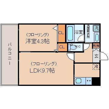 コンダクト福岡東423号室-間取り