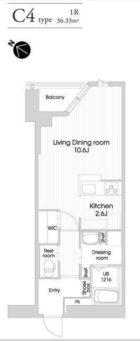 ラクレイス西新レジデンシャルタワー - 所在階 の間取り図