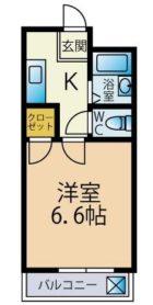 クリスタルウイング - 所在階3階の間取り図 6634