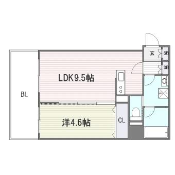 ビータコモダ博多202号室-間取り