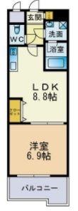 ビュー博多1202号室-間取り