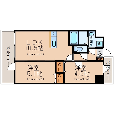 モダンパラッツォ県庁口604号室-間取り