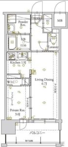 アルファシオベイス博多 - 所在階 の間取り図