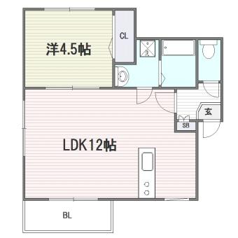 プルデント美野島302号室-間取り