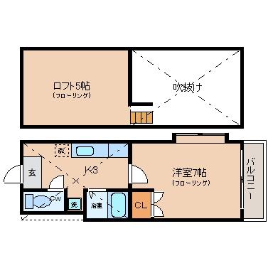 プレ・マルシェ美野島201号室-間取り