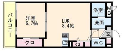 アミティエ博多駅南402号室-間取り