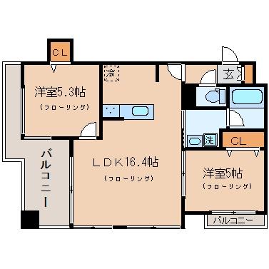 アクタス渡辺通パークシティ504号室-間取り