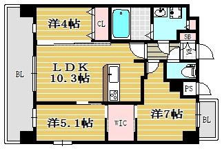 Modern Palazzo大濠公園Ⅱ1002号室-間取り