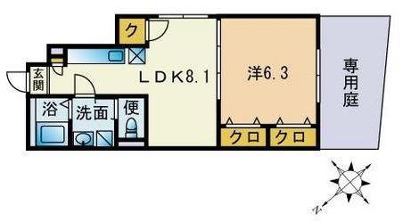 アムール萌102号室-間取り